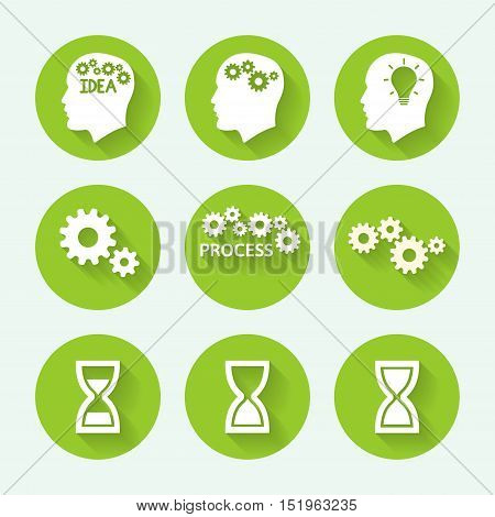 Processes green icon set, flat design. Vector illustration
