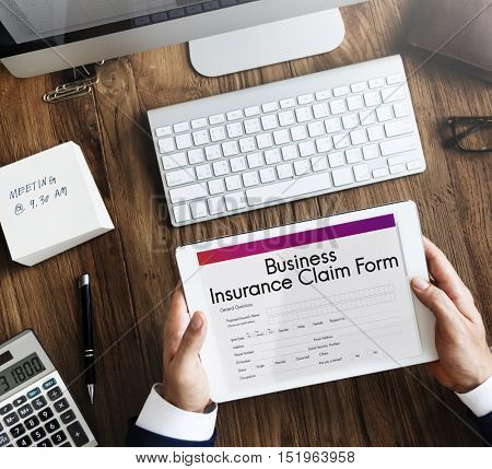 Business Insurance Claim Form Document Concept