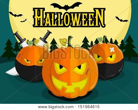 Pumpkin for Halloween on background of the full moon. Pumpkin with an evil smile, ninjas and pumpkins with swords. Bats