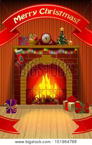Christmas card with red ribbon, fireplace in interior, holiday decorations and gifts. Vector illustration