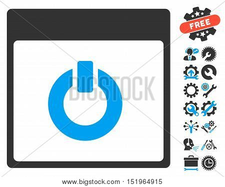 Switch on Calendar Page icon with bonus options design elements. Vector illustration style is flat iconic symbols, blue and gray, white background.