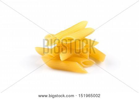 Pile Of Penne On White Background