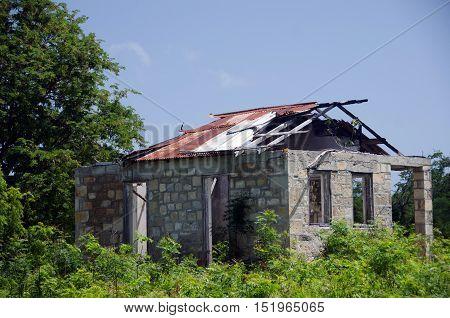 Remains Of An Old Shack At Betty Hope Plantation