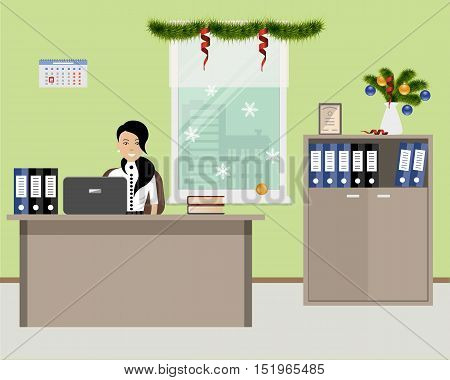Web banner of an office worker, decorated with Christmas decoration. The young woman is an employee at work. There is a furniture in beige color on a window background. Vector illustration