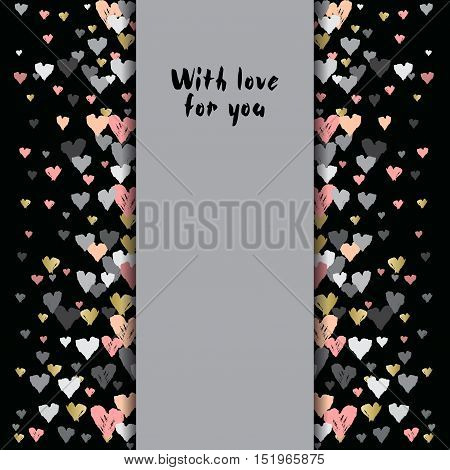 Gray vertical design with hearts confetti on black background. Romantic trendy heart frame. Valentine day design for love card, valentine day greetings. Vector illustration stock vector.