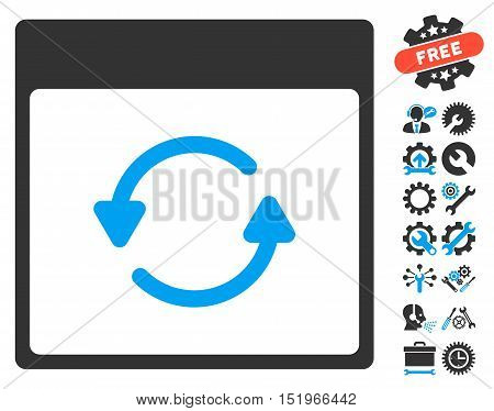 Update Calendar Page pictograph with bonus service symbols. Vector illustration style is flat iconic symbols, blue and gray, white background.