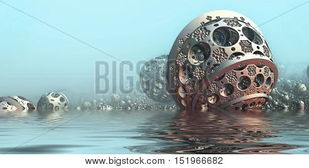 Background with fantastic 3D spheres in water, abstract sci fi design.