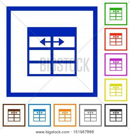 Set of color square framed Spreadsheet adjust table column width flat icons