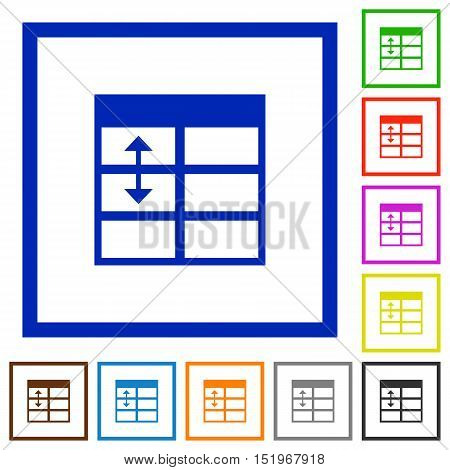 Set of color square framed Spreadsheet adjust table row height flat icons