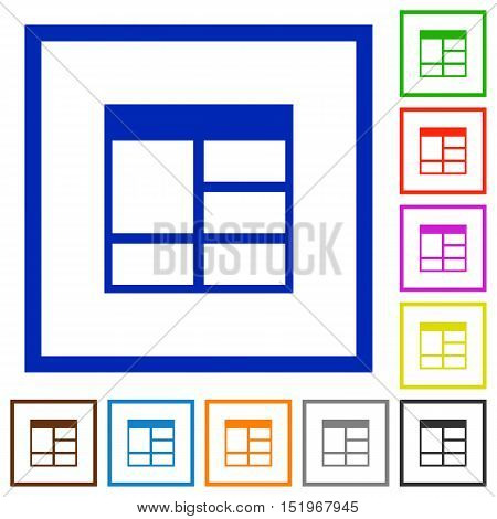 Set of color square framed Spreadsheet vertically merge table cells flat icons
