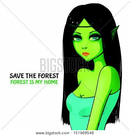 Deep forest elf with black hair and green skin. Blue top. Fantasy character