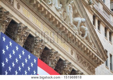 NEW YORK CITY - September 3: New York Stock Exchange building on September 3 2015 in New York. The NYSE trading floor is located at 11 Wall Street and is composed of 4 rooms used for facilitation of trading.