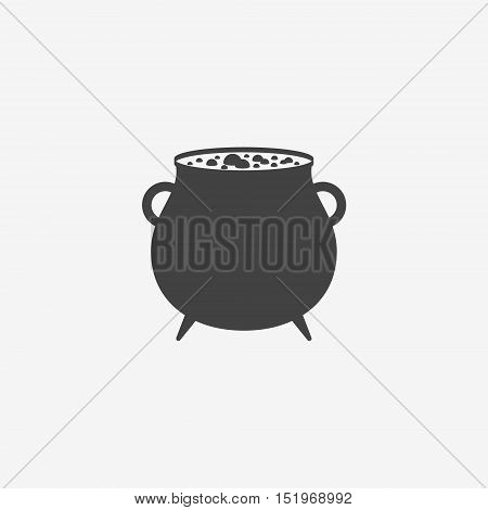 Witches cauldron with potion monochrome icon on white background. Vector illustration.