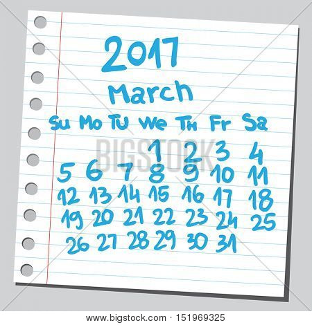 Calendar 2017 march