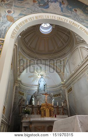 Paris France - September 6 2016: Inside the Church of the Miraculous Medal in Paris France