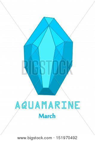 Blue aquamarine gem stone, Blue crystal, Gems and mineral crystal, March birthstone gemstone