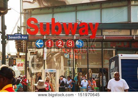 NEW YORK CITY - SEPTEMBER 4: Subway station sign on September 4 2013 in New York City NY.
