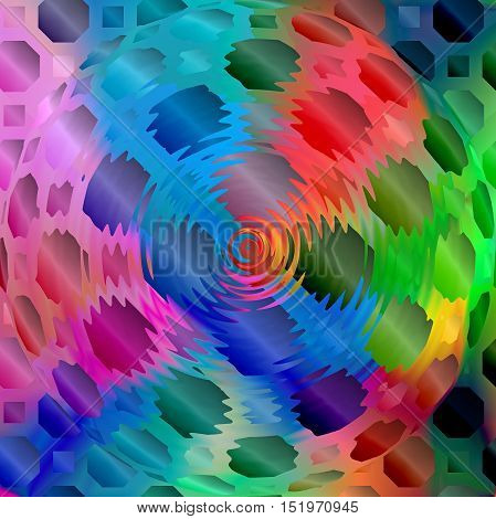Abstract coloring background of the spectrum gradient with visual mosaic, octagon,spherize and zigzag effects