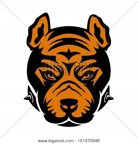Pit bull  head isolated on white background. Design element for logo, label, emblem, sign, brand mark. Vector illustration.