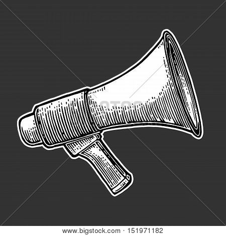 Male hand holding loudspeaker. Vector flat illustration isolated on black background. For banner poster presentation icon promotion and advertising concept.