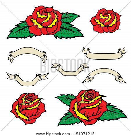 Set of the old school style roses with leaves isolated on white background. Vintage style ribbons. Design elements in vector.