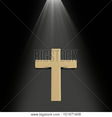 3D rendering of a golden cross with light from heaven on black religion concept