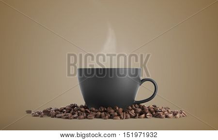 Black Cup Of Coffee Against Beige Background
