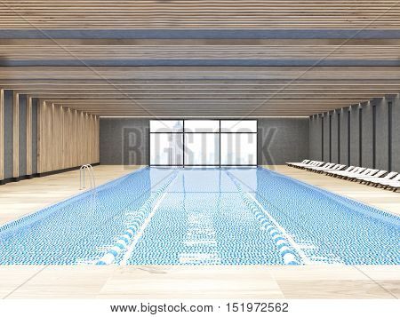 Front view of sunlit public pool with large window and chaise longues. Concept of staying healthy and active. 3d rendering.