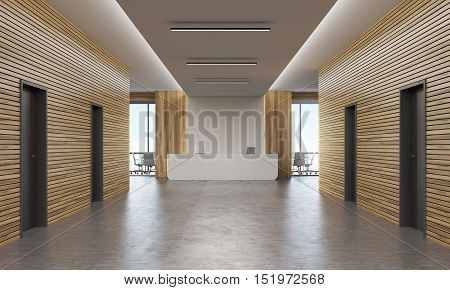 Office corridor with several doors and reception counter in the end. Concept of legal company interior. 3d rendering. Mock up.