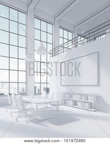 Side view of white office with conference table and large windows. Blue sky. Horizontal poster on the wall. Concept of office life. 3d rendering. Mock up