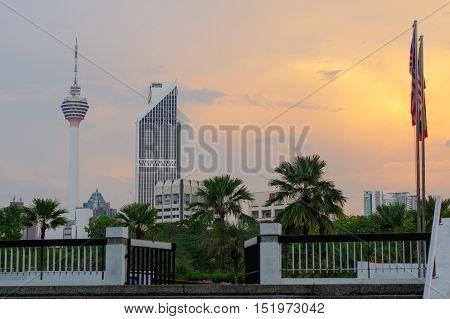 KUALA LUMPUR MALAYSIA - JANUARY 182016 : Beautiful dramatic sunset over Kuala Lumpur city skyline the capital city of Malaysia.