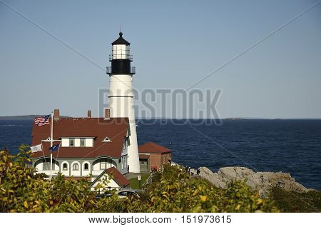 The Portland Head Lighthouse in Cape Elizabeth, Maine, USA
