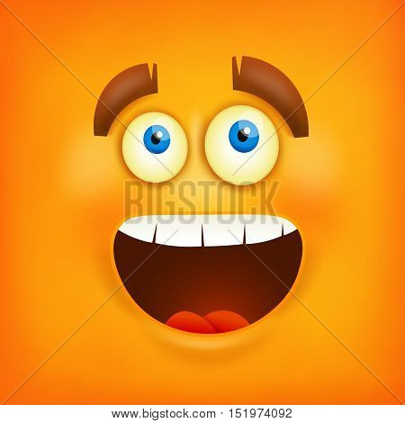 Happy smiley emoticon square background. Vector illustration
