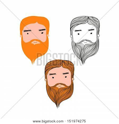 Cute bearded man head set on white background