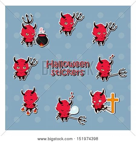 Cartoon Devil sticker illustration - set of 8 stickers