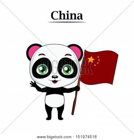 Illustration of Panda bear holding the Chinese flag