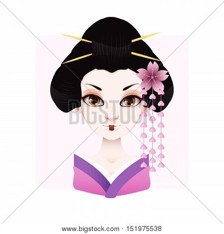 Beautiful Geisha In Violet And Pink Kimono Illustration
