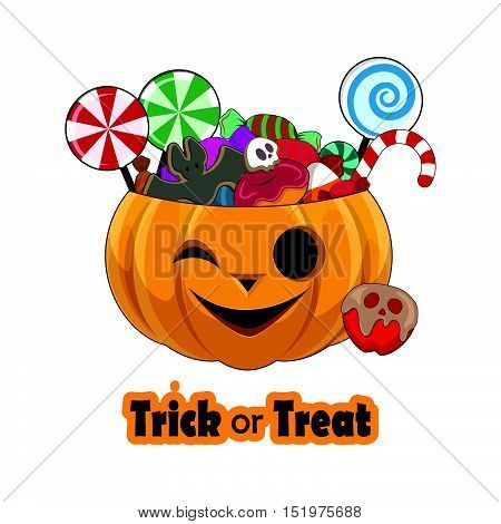 Trick Or Treat Pumpkin Full Of Sweets - Joyful Face