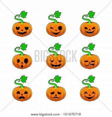 Collection of nine different pumpkin face illustrations