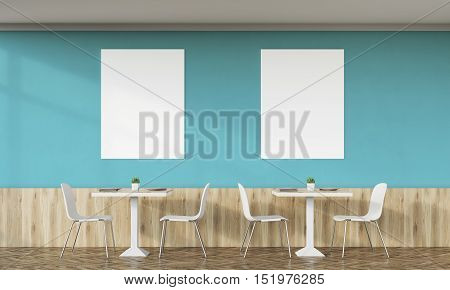 Family cafe interior with dark green walls retro design tables chairs and two vertical posters on white wall. Concept of family dinner. 3d rendering. Mock up.