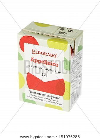Stockholm, Sweden - May 6, 2016: An unopened pack of 2 dl apple juice concentrate Eldorado for the Swedish market isolated on white background.