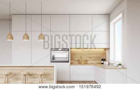 Front view of kitchen with oven sink countertops and window. Concept of healthy food. 3d rendering. Mock up.