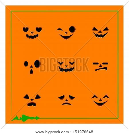 Nine different pumpkin face templates for Halloween