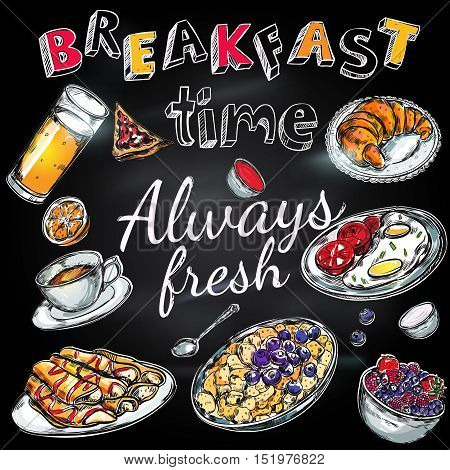 Breakfast time poster with fresh meals and plates and title always fresh vector illustration