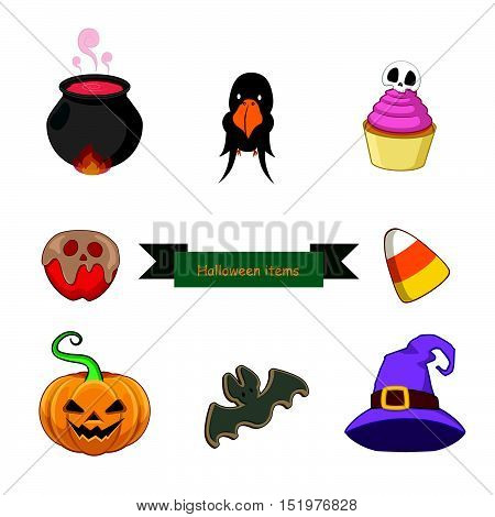Halloween objects set with eight different objects