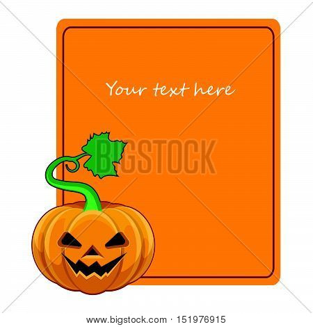 Halloween pumpkin greeting with orange card and text placeholder