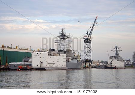 NORFOLK, VA, USA - MAY 4: Warship under repair in Naval Station Norfolk on May 4th, 2012 in Norfolk, Virginia, USA.