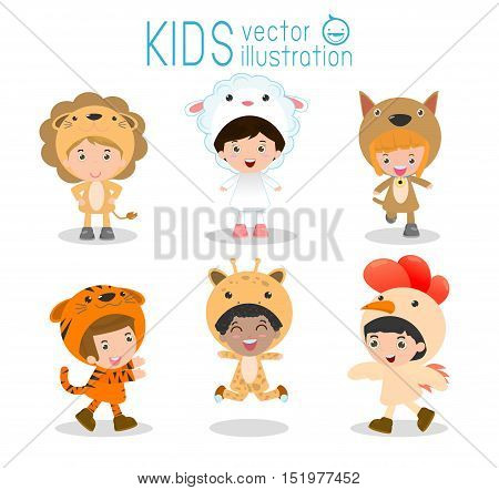 Set of cute kids wearing animal costumes isolated on white background, Little children in their Animal Costumes, Kid with animals costume, cute child in costume,Vector Illustration.