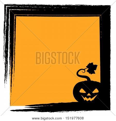 Halloween Greeting With Pumpkin Silhouette And Frame - Evil Face