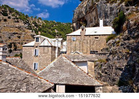Pustinja Blaca hermitage in stone canyon of Brac island Dalmatia Croatia